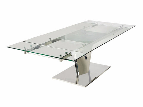 Casabianca DIAMOND Polished Stainless Steel Dining Table - CB-123C-Dining Tables-HipBeds.com