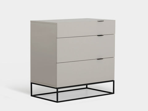 Casabianca VIZZIONE High Gloss Gray Lacquer Tall Dresser/ Nightstand - CB-1406-SINGLEDG-Nightstands-HipBeds.com