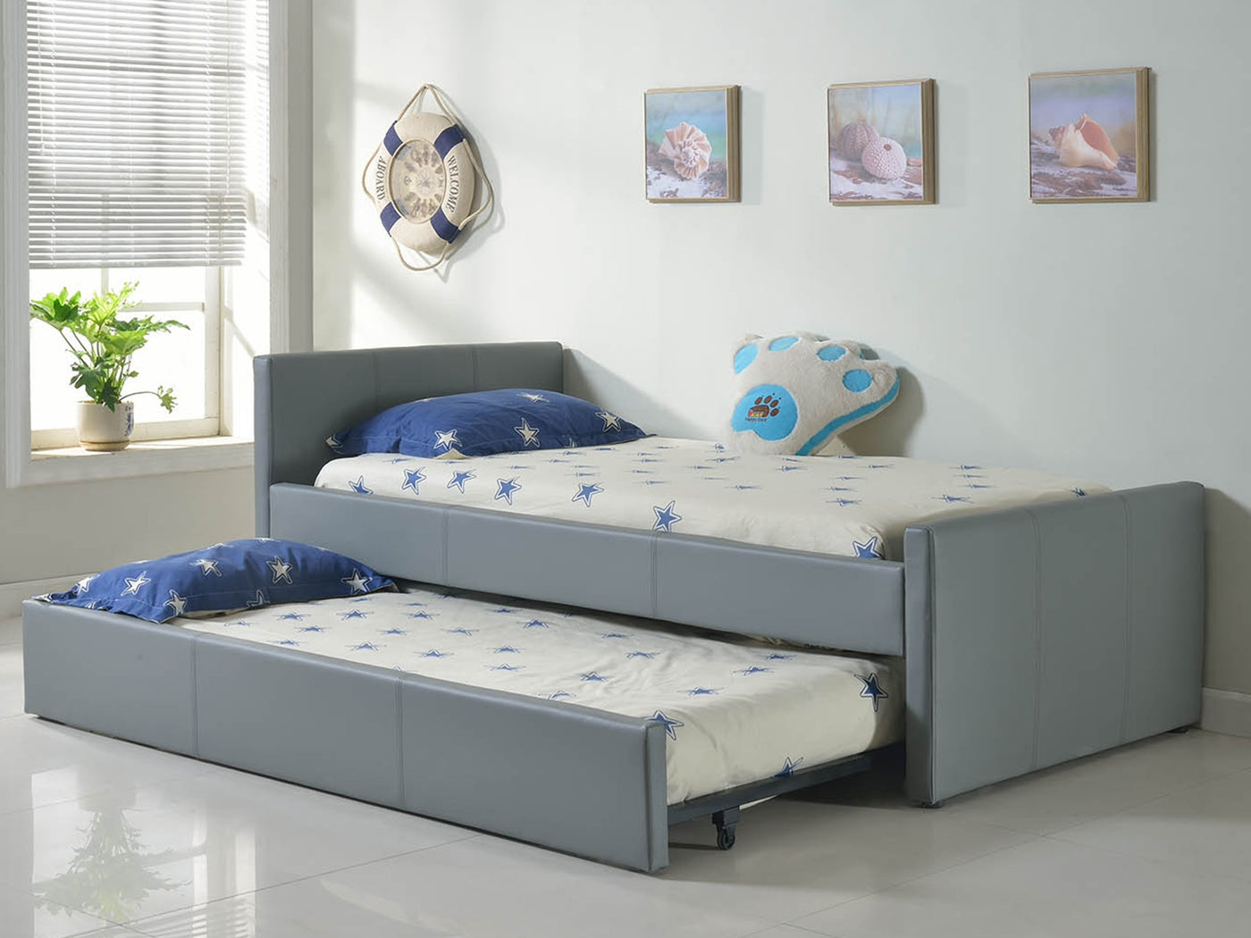 Picture of: Casabianca Duette Gray Eco Leather Twin Bed Cb 14bdg Xltwin Hipbeds Hipbeds Com