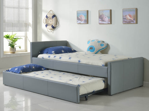 Casabianca DUETTE Gray Eco-leather Twin Bed - CB-14BDG-XLTwin-Platform Beds-HipBeds.com