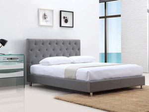 Casabianca MILES II Gray Fabric Queen Bed - CB-233-Q-GRAY-Platform Beds-HipBeds.com