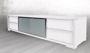 Casabianca PINETO High Gloss White Lacquer Entertainment Center - CB-302TV-Entertainment Centers-HipBeds.com