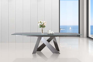 Casabianca ZARA Titanium Base / Light Gray Glass Dining Table - CB-316DT-Dining Tables-HipBeds.com