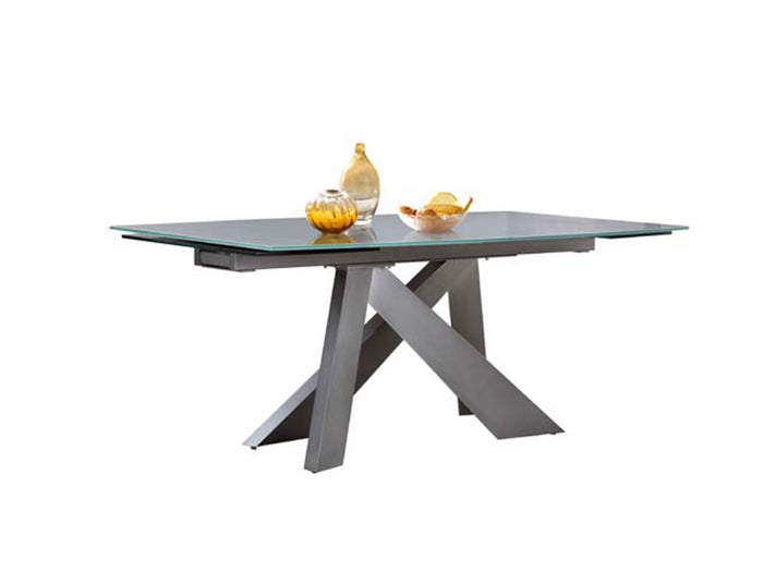 Casabianca ZARA Titanium Base / Light Gray Glass Dining Table - CB-316DT
