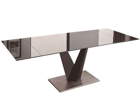Casabianca TEMPO Dark Gray Base / Dark Gray Glass Dining Table - CB-317DT-Dining Tables-HipBeds.com
