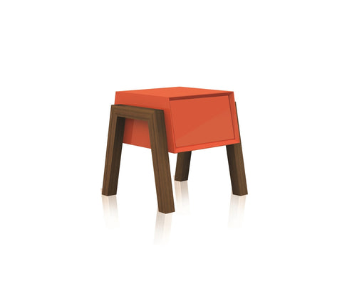 Casabianca FIGO High Gloss Orange Lacquer Nightstand / End Table - CB-3937-Orange-Nightstands-HipBeds.com