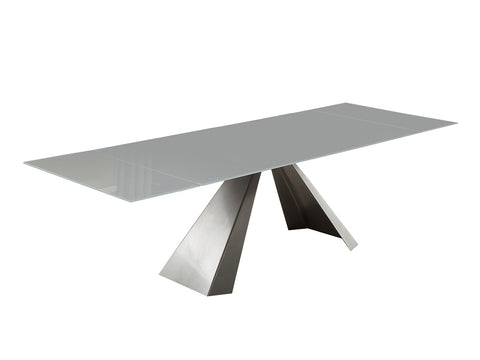 Casabianca ARROW Titanium Silver / White Glass Dining Table - CB-399DT-Dining Tables-HipBeds.com