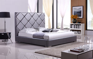 Casabianca VERONA Gray leather headboard with eco-leather match rails King Bed-Platform Beds-HipBeds.com