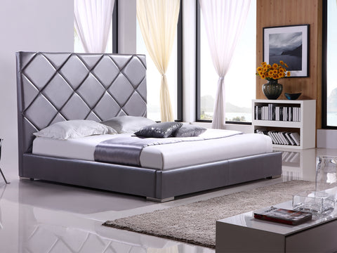Casabianca VERONA Gray leather headboard with eco-leather match rails Queen Bed-Platform Beds-HipBeds.com