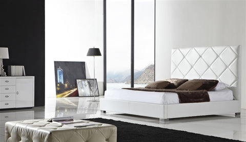 Casabianca VERONA White leather headboard with eco-leather match rails Queen Bed-Platform Beds-HipBeds.com