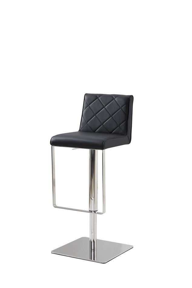 Casabianca LOFT Black Eco-leather w Stainless Steel Bar Stool