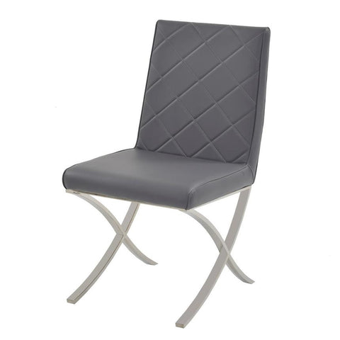 Casabianca LOFT Gray Eco-leather Dining Chair - CB-922-G-Dining Chairs-HipBeds.com