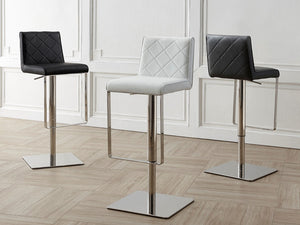 Casabianca LOFT White Eco-leather w Stainless Steel Bar Stool-Bar Stools-HipBeds.com