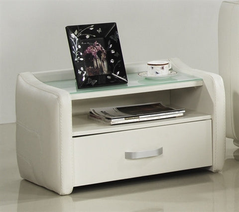 Casabianca SOLE White Eco-Leather Nightstand - CB-A86WHITE-Nightstands-HipBeds.com