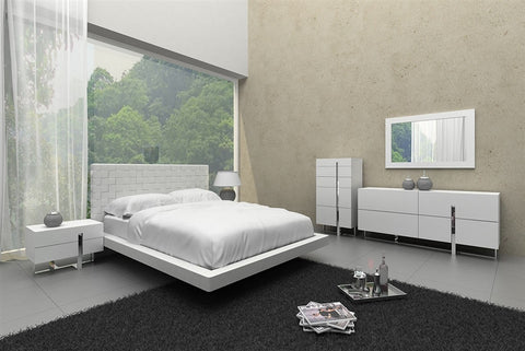 Casabianca ZACK White Eco-Leather Queen Bed - CB-C1301-QW-Platform Beds-HipBeds.com