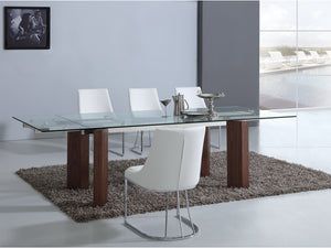 Casabianca TORINO Walnut Veneer w Tempered Glass Dining Table - CB-D2048-WAL-Dining Tables-HipBeds.com