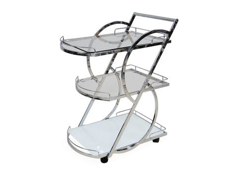 Casabianca SIENA Chrome / White Glass Bar Cart-Bar Carts-HipBeds.com