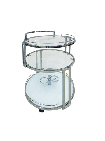Casabianca GIRO Chrome / White Glass Bar Cart-Bar Carts-HipBeds.com
