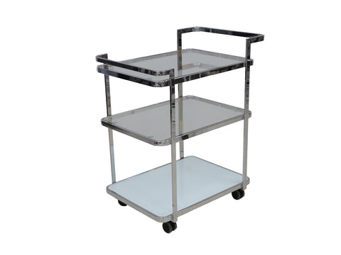 Casabianca FERRARA White / White Glass Bar Cart-Bar Carts-HipBeds.com