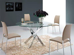 Casabianca GALAXY Chrome / Clear Glass Dining Table - CB-F2133-Dining Tables-HipBeds.com