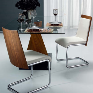 Casabianca MODELO White Eco-Leather/Walnut Veneer Dining Chair - CB-F3175-WAL-Dining Chairs-HipBeds.com