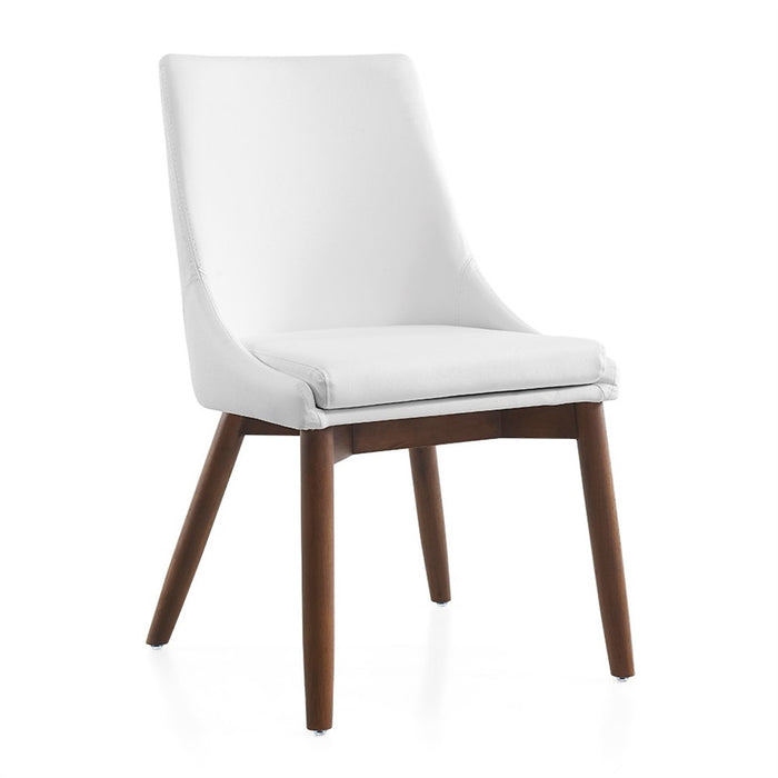Casabianca CREEK White Eco-Leather  /  Walnut Legs Dining Chair - CB-F3185-WWAL