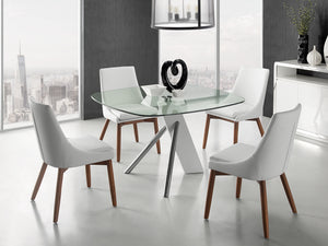 Casabianca CREEK White Eco-Leather / Walnut Legs Dining Chair - CB-F3185-WWAL-Dining Chairs-HipBeds.com