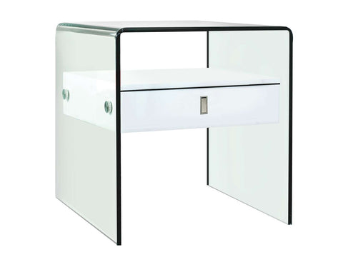 Casabianca BARI High Gloss White Lacquer Nightstand / End Table - CB-J052-Nightstands-HipBeds.com