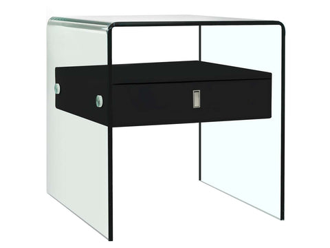 Casabianca BARI High Gloss Black Lacquer Nightstand / End Table - CB-J052-BL-Nightstands-HipBeds.com