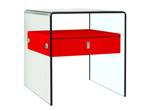 Casabianca BARI High Gloss Red Lacquer Nightstand / End Table - CB-J052-Red-Nightstands-HipBeds.com