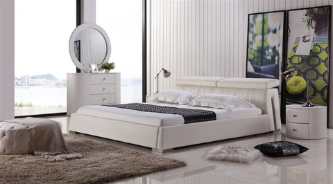 Casabianca ANGEL White leather headboard with eco-leather match rails King Bed-Platform Beds-HipBeds.com