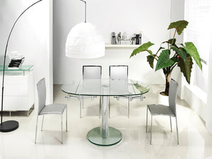 Casabianca THAO Stainless Steel / Clear Glass Dining Table - CB-T030-Dining Tables-HipBeds.com