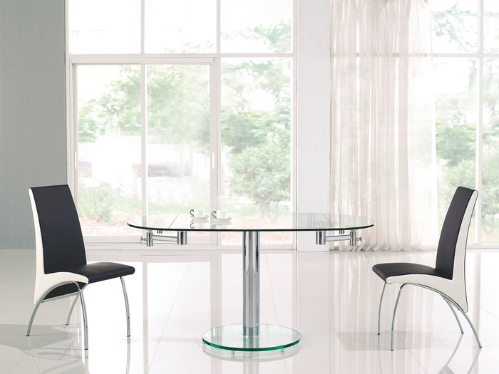 Casabianca THAO Stainless Steel / Clear Glass Dining Table - CB-T030