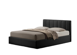 Baxton Studio Templemore Black Leather Contemporary Queen-Size Bed - Black-Platform Beds-HipBeds.com