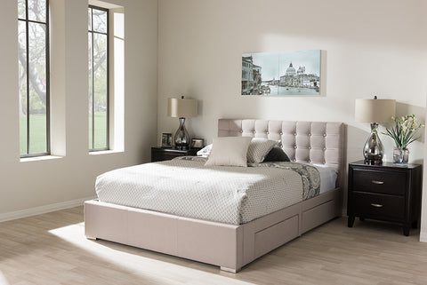 Baxton Studio Rene Modern and Contemporary Beige Fabric 4-drawer Queen Size Storage Platform Bed   - Beige-Platform Beds-HipBeds.com