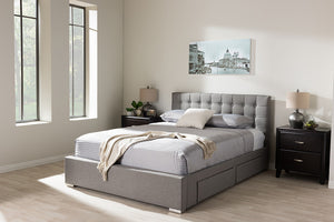 Baxton Studio Rene Modern and Contemporary King Size Grey Fabric 4-drawer Storage Platform Bed   - Grey-Platform Beds-HipBeds.com