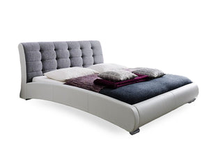 Baxton Studio Guerin Contemporary White Faux Leather Grey Fabric Two Tone Upholstered Grid Tufted King-Size Platform Bed - White/Grey-Platform Beds-HipBeds.com