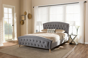 Baxton Studio Hannah Modern and Contemporary Grey Velvet Fabric Upholstered and Natural Finishing Queen Size Platform Bed - Grey-Platform Beds-HipBeds.com