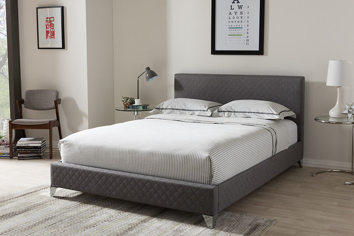 Baxton Studio Harlow Modern and Contemporary Grey Quilted Fabric Upholstered King Size Platform Bed - Grey