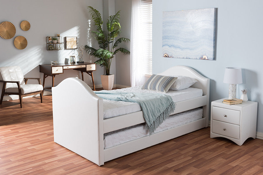 Baxton Studio Alessia White Faux Leather Upholstered Daybed With Guest Trundle  Bed   White Platform