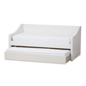 Baxton Studio Barnstorm White Leather Daybed with Guest Trundle Bed - 2