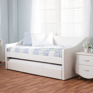 Baxton Studio Barnstorm White Leather Daybed with Guest Trundle Bed - 6