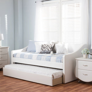Baxton Studio Barnstorm White Leather Daybed with Guest Trundle Bed - 7