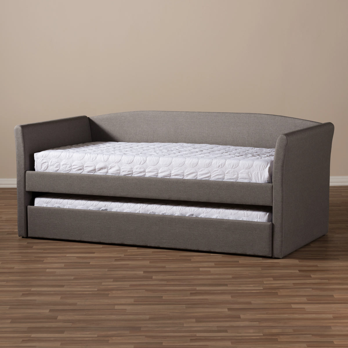 free shipping 4f375 8a6dc Baxton Studio Camino Grey Daybed with Guest Trundle Bed