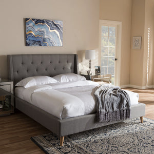 Baxton Studio Adelaide Light Grey Queen Size Platform Bed - 6