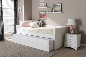 Baxton Studio Risom Modern and Contemporary White Faux Leather Upholstered Twin Size Daybed Bed Frame with Trundle - White-Platform Beds-HipBeds.com