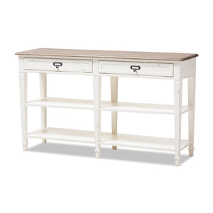 Baxton Studio Dauphine Oak & White Wash Wood Console Table-Tables-HipBeds.com