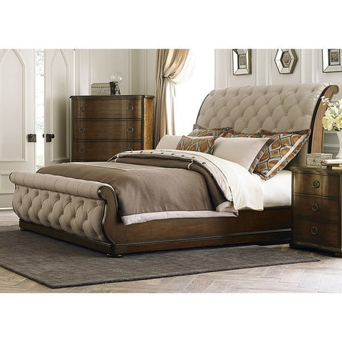 Liberty Furniture Cotsworld Tufted Linen Upholstered Sleighbed - 545-BR-XSL-Sleigh Beds-HipBeds.com