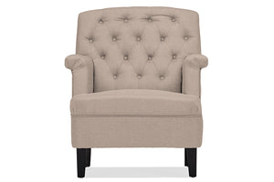 Baxton Studio Jester Classic Retro Modern Contemporary Beige Fabric Upholstered Button-tufted Armchair-Chairs-HipBeds.com