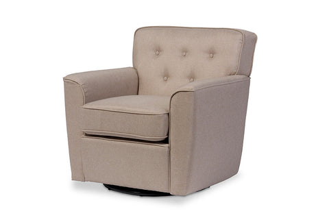 Baxton Studio Canberra Modern Retro Contemporary Beige Fabric Upholstered Button-tufted Swivel Lounge Chair with Arms